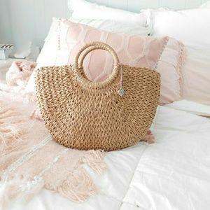 Handbags - NEW - LARGE BOHO HEART LOCKET WOVEN RATTAN BAG